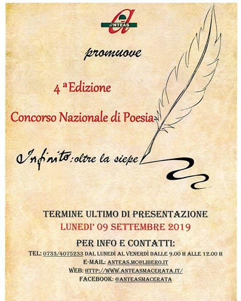 """Concorso Nazionale biennale di poesia """"Infinito:oltre la siepe"""" scadenza 9 Settembre 2019"""